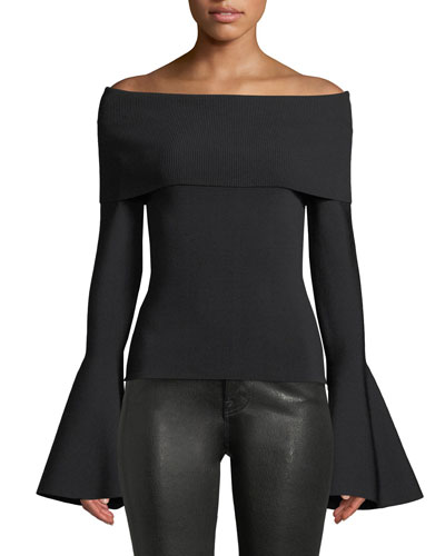 Venna Off-the-Shoulder Dramatic Bell-Sleeve Top
