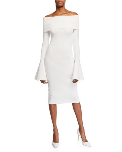 Mori Off-the-Shoulder Long Bell-Sleeve Body-Con Dress