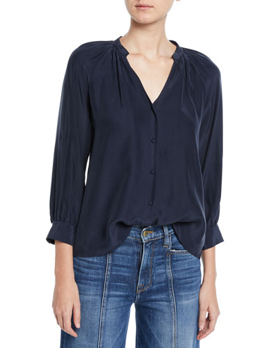 2d62c8a4c7dbca Raglan-Sleeve Silk Button-Front Top