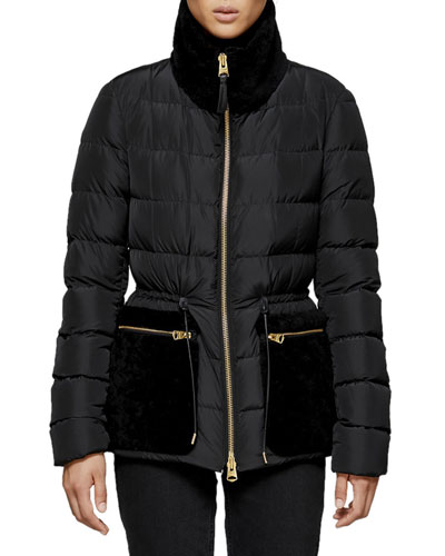 Elise Down-Fill Jacket w/ Fur Pockets
