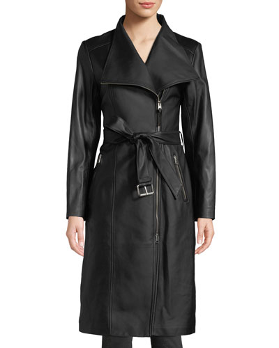 Estele Belted Long Leather Jacket