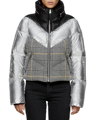 Mini Houndstooth & Metallic Cropped Down Jacket