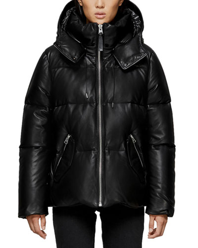 Miley Leather Puffer Coat w/ Detachable Hood
