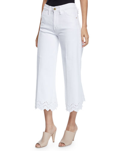 Schiffli Vintage High-Rise Cropped Jeans with Eyelet Hem