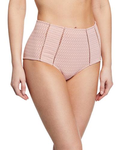 Lace High-Waist Bikini Swim Bottoms