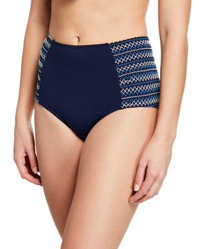 Smocked High-Waisted Bikini Swim Bottoms