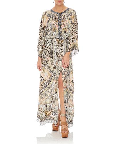 Embellished Silk Split-Front Maxi Dress