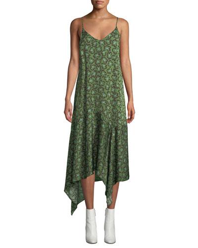 Dista Leopard-Print Handkerchief Slip Dress