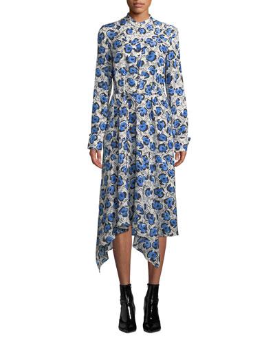 Domi Long-Sleeve Floral Handkerchief Shirtdress