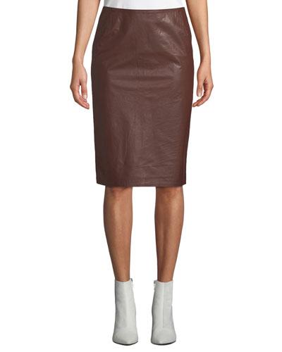 Sansul Leather Pencil Skirt