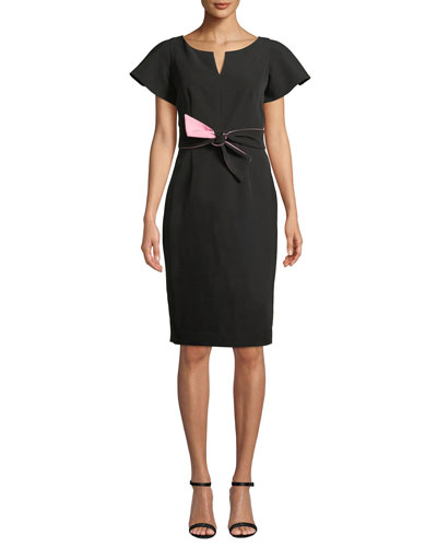 Italian Cady Tina Short-Sleeve Dress w/ Twist Detail