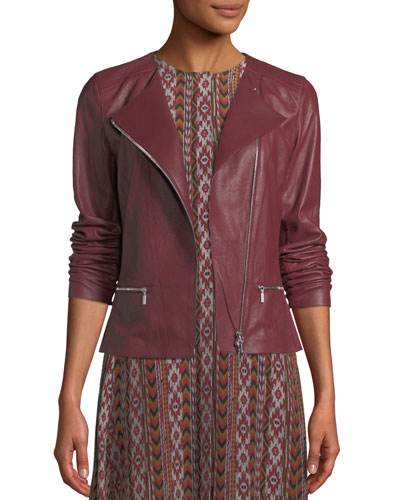 99977c88d517 Plus Size Trista Zip-Front Weathered Lambskin Leather Jacket w/ Jersey Combo