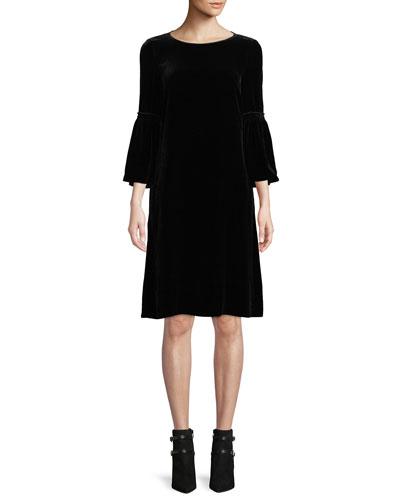 Roslin Round-Neck Bell-Sleeve Velvet Shift Dress