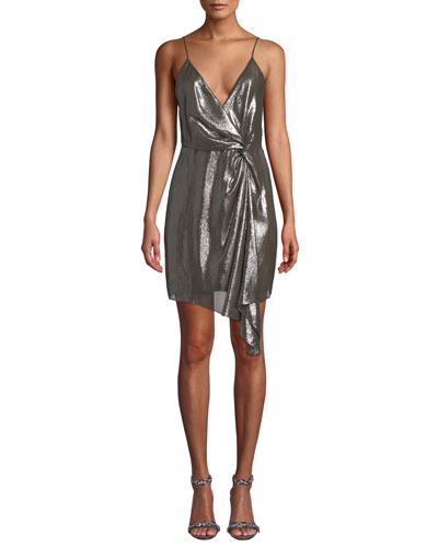 Tori Metallic Twist-Front Cocktail Dress