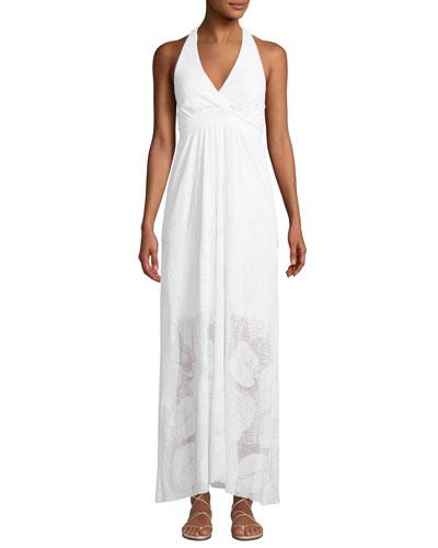 Palm Lace Halter Coverup Maxi Dress