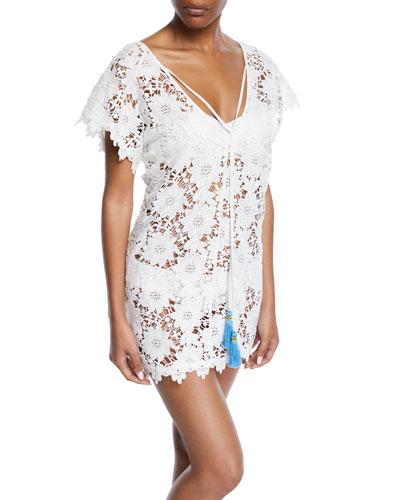 Floral Lace Short Coverup Dress