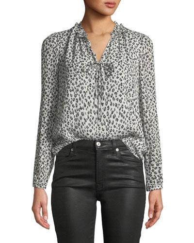 e389b6ca9536ec Rebecca Taylor Top. Long-Sleeve Mini Cheetah-Print Silk Top