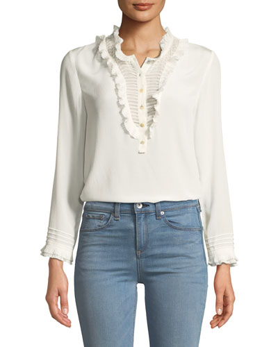 cb4000e848862 Ruffled Long-Sleeve Button-Front Silk Top Quick Look. Rebecca Taylor
