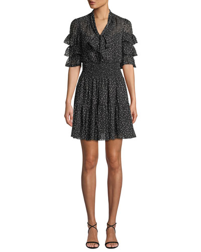 Ruffle-Sleeve Mini Cheetah-Print Tie-Neck Dress