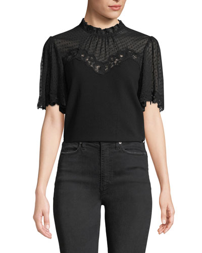 Short-Sleeve Crepe High-Neck Lace Top