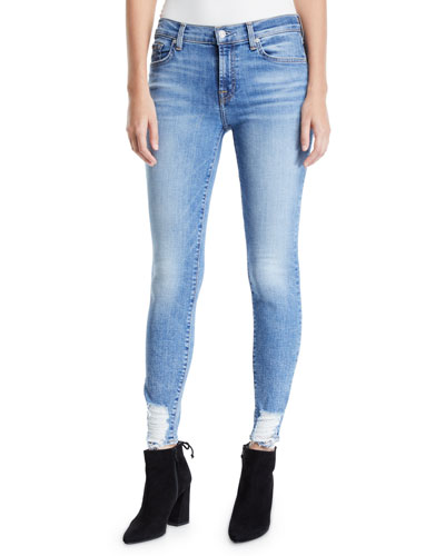 Mid-Rise Ankle Skinny Jeans with Chewed Hem