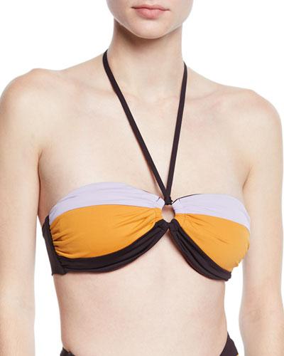 Amulet Colorblock Bandeau Bikini Top