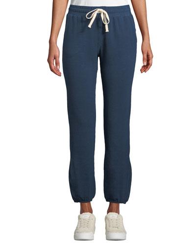Super-Soft High-Waist Straight-Leg Ankle-Length Sweatpants w/ Drawstring Ties