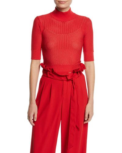 Lanie Pointelle High-Neck Short-Sleeve Pullover