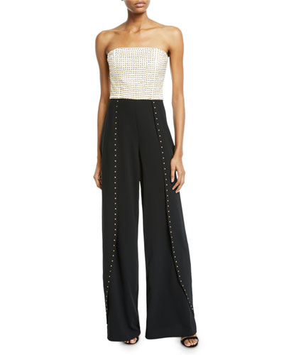 Angelica Studded Open-Pleat Bustier Jumpsuit