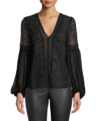 Brea Exaggerated Blouson-Sleeve Blouse