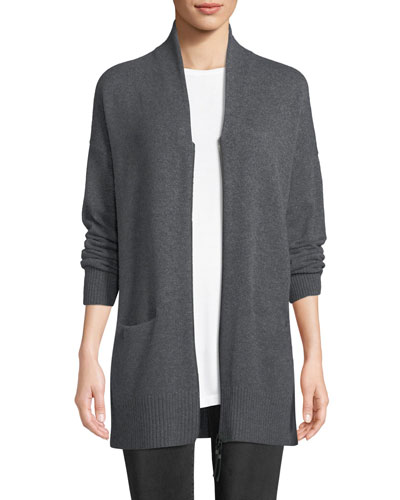Plus Size Shawl-Collar Zip-Front Cashmere Cardigan
