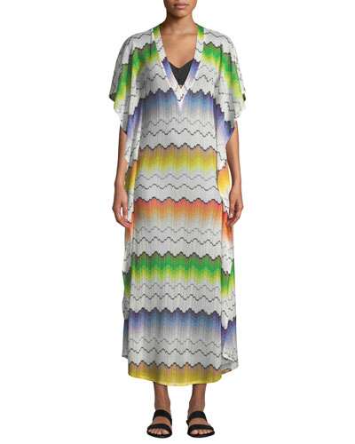 Printed V-Neck Long Coverup Tunic