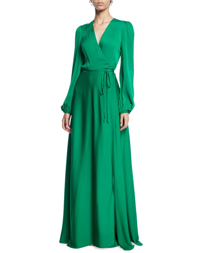 Gina Long-Sleeve Stretch Silk Wrap Gown