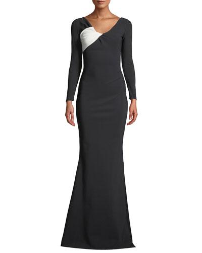 Bilgi Long-Sleeve Jersey Colorblock Gown