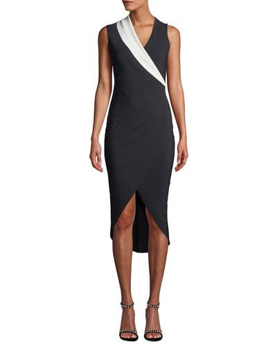 Jette Longette Asymmetric High-Low Dress w/ Contrast Lapel