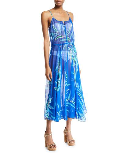 Floral-Print Cinched-Waist Maxi Dress