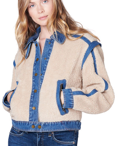 Potter Cropped Denim-Trim Sherpa Jacket