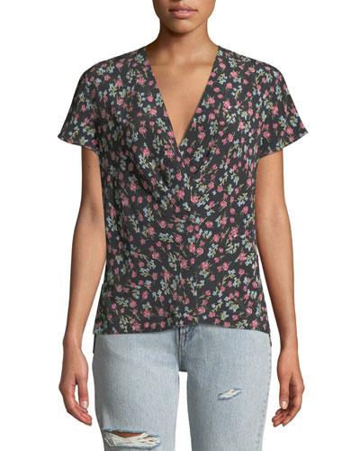 Shields Floral V-Neck Short-Sleeve Top