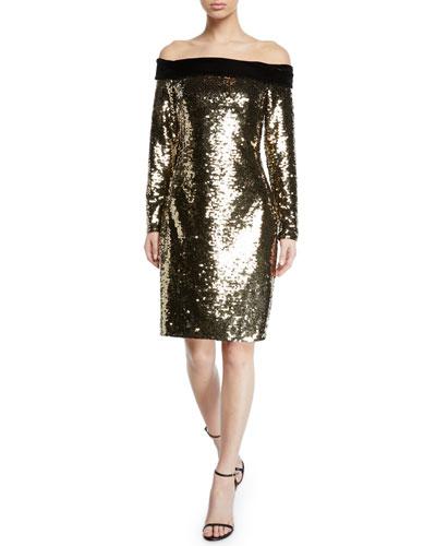 Off-the-Shoulder Velvet-Trim Sequin Cocktail Dress