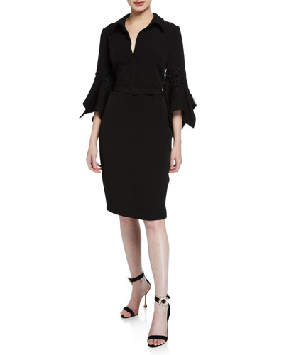 Hanky Bell-Sleeve Shirt Cocktail Dress w/ Lace Trim