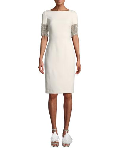 Crystal Chandelier-Sleeve Dress