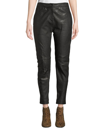 Sarah Mid-Rise Leather Pants
