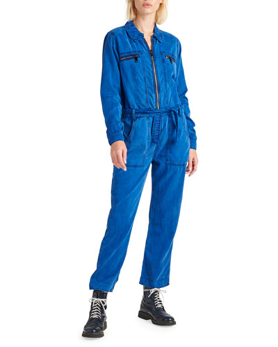 Belted Zip-Front Twill Jumpsuit