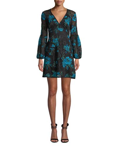 Aerial Blouson-Sleeve Floral Lace Mini Dress