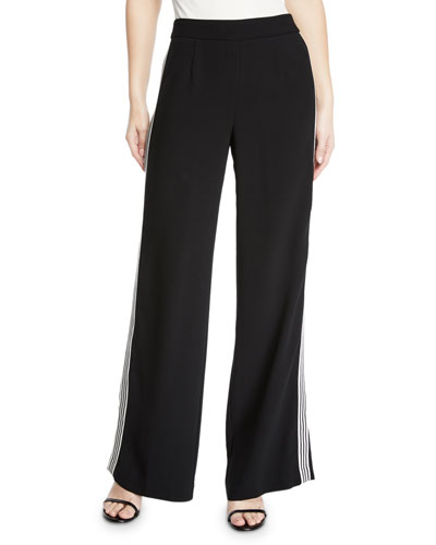Boogie Wide-Leg Trouser Pant with Striped Sides
