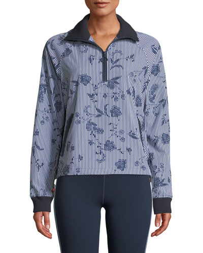 Florence Striped Floral Quarter-Zip Jacket