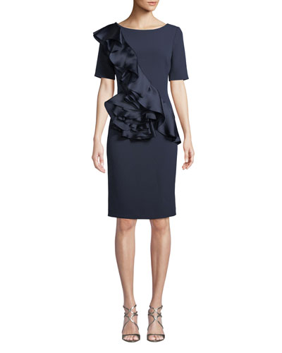 Silk Ruffle-Front Sheath Dress