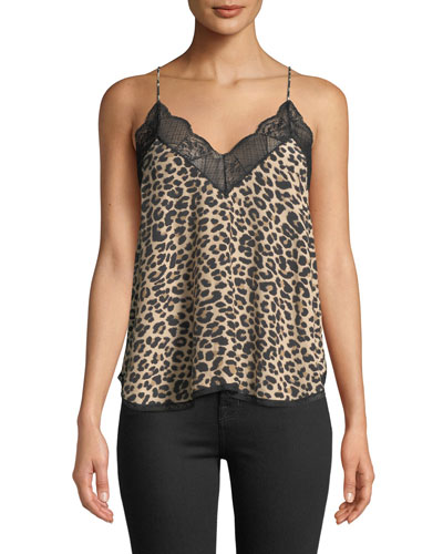 Christy Leopard-Print Sleeveless Blouse with Lace Trim
