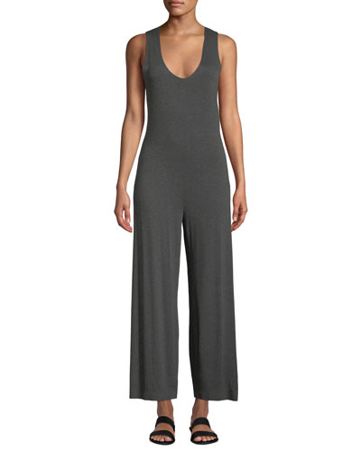 e3697bdfa89e Scoop-Neck Sleeveless Cropped Jumpsuit w  Crossed Back