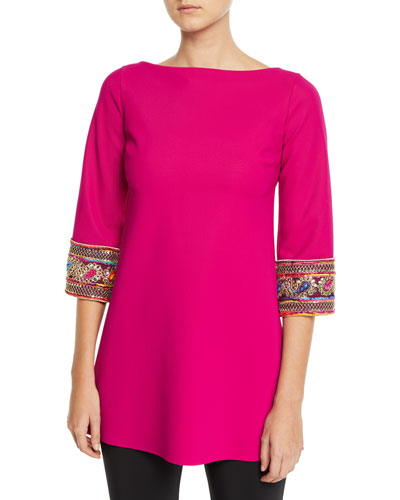 Giuseppina Beaded-Cuff Tunic